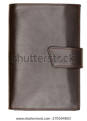 Dark brown natural leather wallet isolated on white background. Expensive man's purse closeup - stock photo