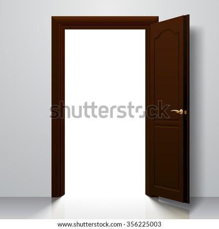 Dark brown open door in white wall - stock photo