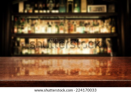 dark brown top of bar and free space for your glass  - stock photo