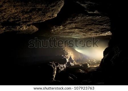 dark cave - stock photo