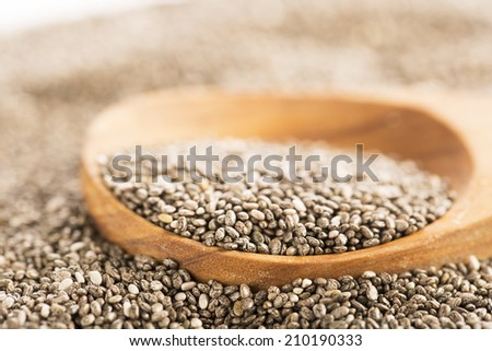 Dark Chia seeds on wooden spoon.  Heart healthy source of omega-3s - stock photo