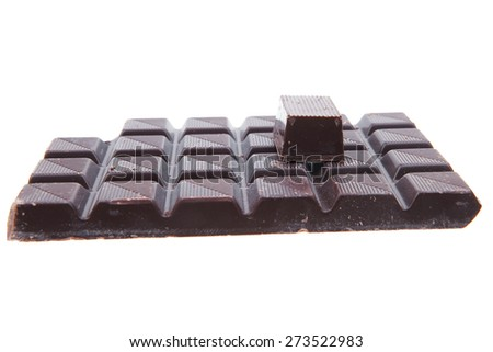 dark chocolate and candy's isolated on white background - stock photo