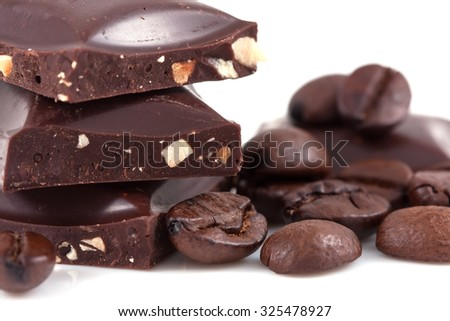 Dark chocolate and coffee isolated on white - stock photo