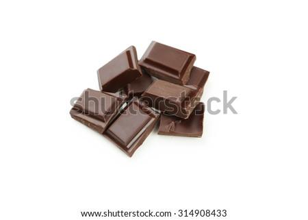 Dark chocolate bar isolated on white - stock photo