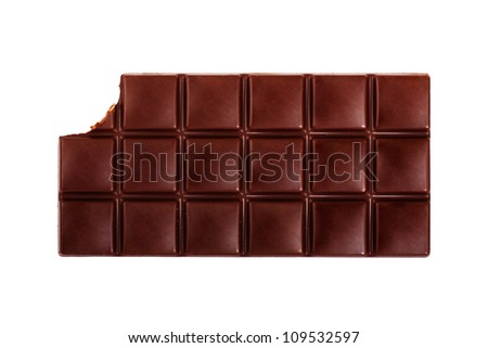 Dark chocolate bar isolated on white background - stock photo