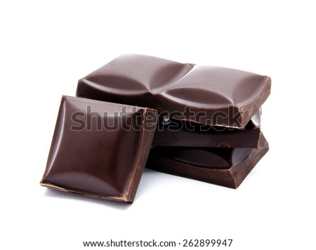 Dark chocolate bars stack with crumbs isolated on a white  - stock photo