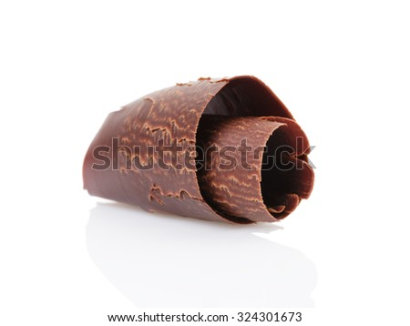 dark chocolate curl isolated on white background - stock photo