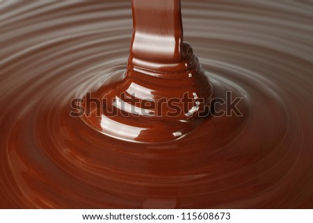 Dark chocolate flow close-up - stock photo