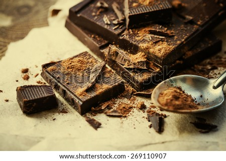 dark chocolate over wooden background  - stock photo