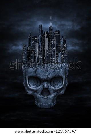 Dark city - stock photo