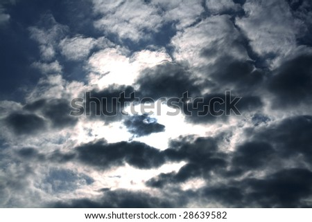 dark clouded blue sky in a rainy day - stock photo