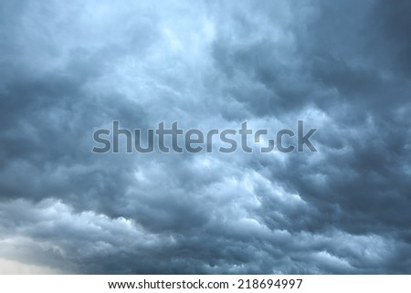 Dark clouds of overcast sky - stock photo
