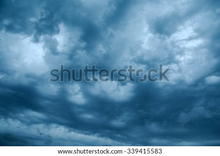 Dark clouds of stormy sky - stock photo