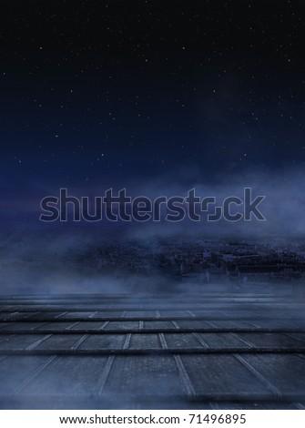 Dark clouds over urban background - stock photo