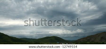 Dark cloudscape - stock photo