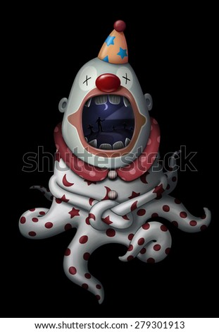 Dark clown with cemetery in the mouth illustration - stock photo