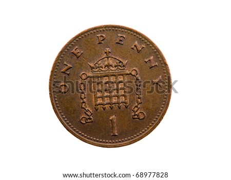 Dark coin, in cost one English of a penny  ( isolated) - stock photo