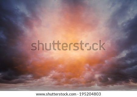 Dark colorful stormy cloudy sky photo background - stock photo