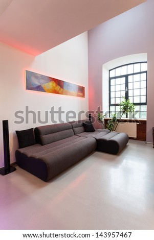 Dark comfortable sofa in a new living room - stock photo