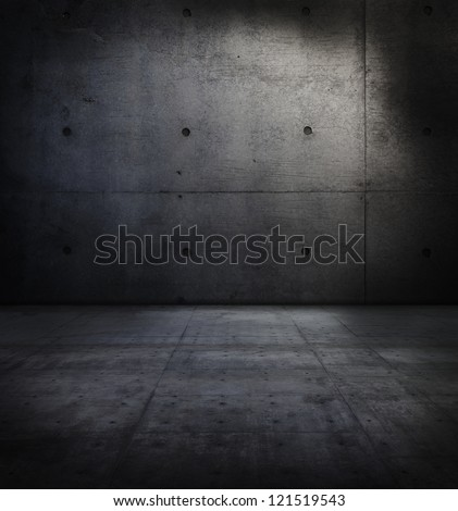 Dark concrete wall and floor. - stock photo