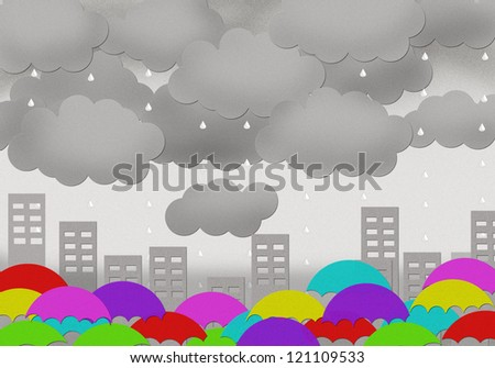 dark could and rain in town with umbrella - stock photo