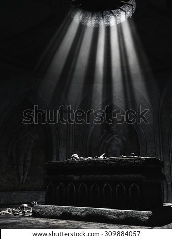 Dark crypt with an altar, bones, skulls, and creepy sculptures on the walls - stock photo