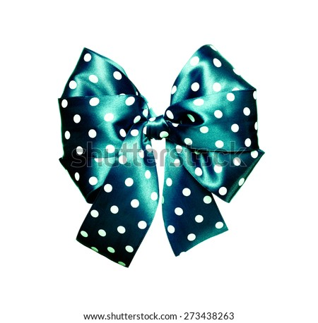 dark cyan bow with white polka dots made from silk isolated - stock photo