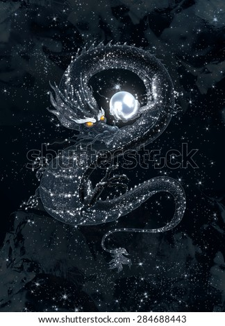 Dark dragon with a shining pearl in the starry sky - stock photo