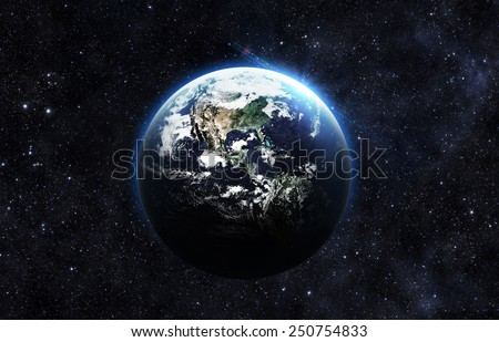 Dark Earth - Elements of this Image Furnished by NASA - stock photo