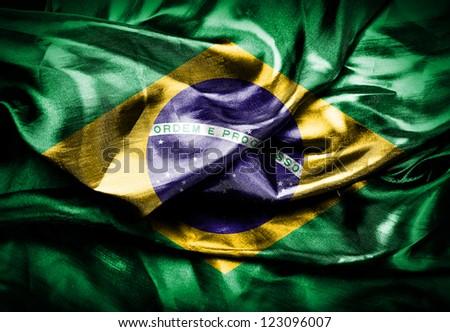 Dark flag of Brazil - stock photo
