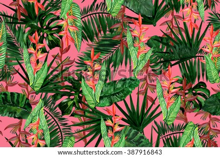 Dark floral pattern seamless on a black background. Green vivid branch of flowers on a rain forest. Faded foliage backdrop. - stock photo
