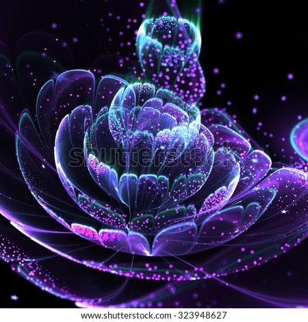 Dark fractal flower with pollen, digital artwork for creative graphic design - stock photo