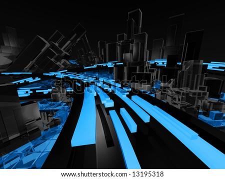 Dark Futuristic City Illustration - stock photo
