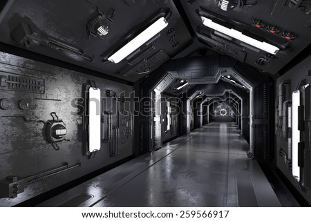 Dark futuristic spaceship interior with corridor (3D Rendering) - stock photo