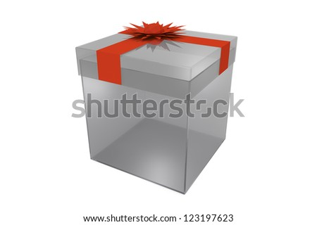 Dark glass transparent gift box with red ribbon bow on white background - stock photo
