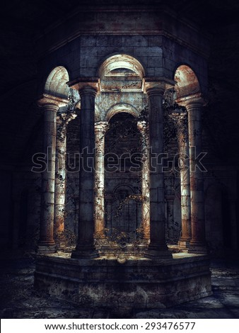 Dark gothic well with vines at night - stock photo