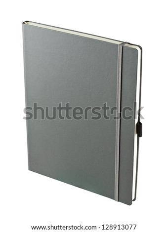 Dark gray notebook isolated on white - stock photo