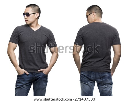 Dark gray t-shirt on a young man isolated front and back-Studio Shot. - stock photo
