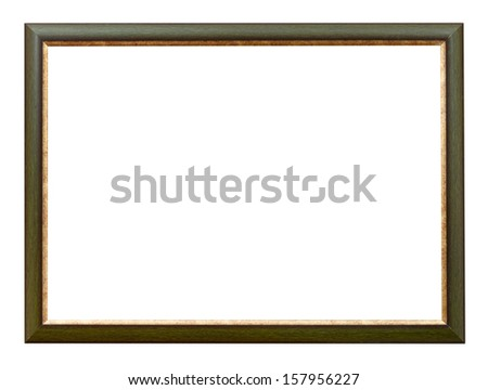dark green and gold flat horizontal picture frame with cutout canvas isolated on white background - stock photo