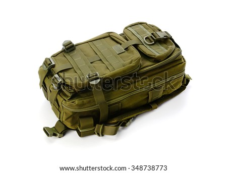 dark green backpack isolated on white background - stock photo