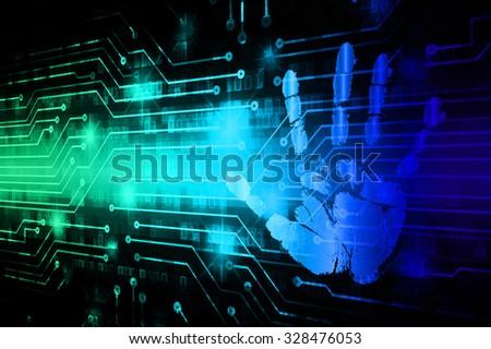 Dark green blue Light Abstract Technology background for computer graphic website internet business.illustration. infographics.motion move blur.neon.pixel. Binary digit.fingerprint. Hand print. - stock photo