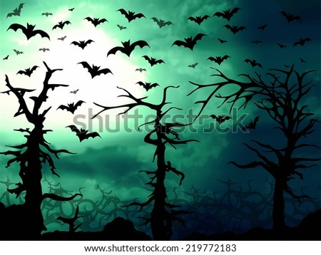 dark green forest and bats scary background illustration - stock photo