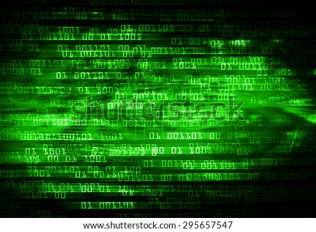 dark green illustration of technology internet network computer background with binary number, style background. infographics. Information. ray. wave - stock photo