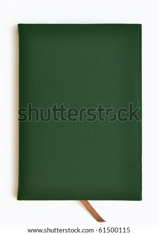 Dark green leather notebook on white background - stock photo