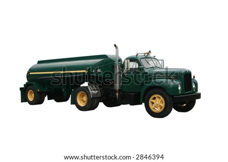 dark green side view of a fuel tanker truck and trailer, isolated on white - stock photo