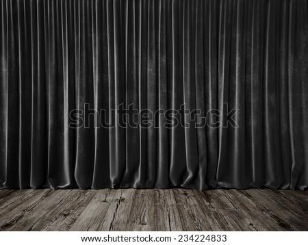Dark grey curtains and grunge floor - stock photo