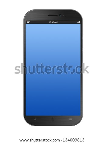 Dark Grey Smartphone Isolated on White Background - stock photo