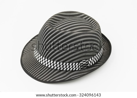 dark grey strip fedora hat isolated on white - stock photo