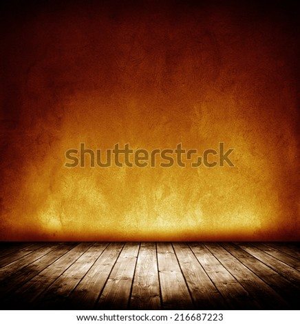 dark grunge interior room with vignette. - stock photo