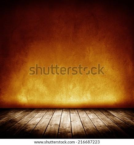 dark grunge interior room with vignette. - stock photo